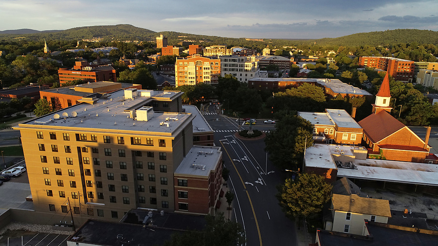 An aerial view of Downtown Charlottesville. Photo/Andrew Shurtleff Photography, LLC