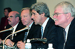 U.S. congressional observers, from right to left,  George Miller, John Kerry, Joe Lieberman and Henry Waxman, speak at the United Nations Framework Convention on Climate Change in Kyoto (COP3) on December 10, 1997, in Kyoto, Japan. (Photo by Natsuki Sakai/AFLO)