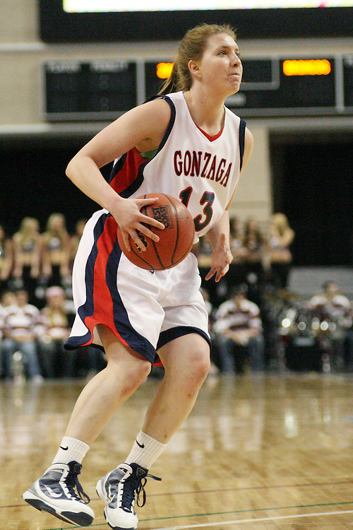 LAS VEGAS, NV - MARCH 7:  Kaitlyn Petersen during the Gonzaga Bulldogs 87-47 win over the Santa Clara Broncos game in the WCC Basketball Tournament on March 7, 2010 at Orleans Arena in Las Vegas Nevada.