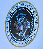 July 23, 2019 - Washington, DC, United States: This is the doctored seal seen during the Turning Point USA's Teen Student Action Summit 2019 where United States President Donald J. Trump addressed the gathering. <br /> Credit: Chris Kleponis / Pool via CNP