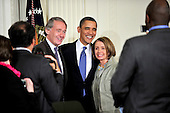 Washington, D.C. - March 23, 2010 -- United States Representative Ed Markey (Democrat of Massachusetts), left, President Barack Obama, center, and U.S. House Speaker Nancy Pelosi (Democrat of California) pose for a photo after the President signed the version of the health care bill that was passed by the U.S. House of Representatives in the East Room of the White House in Washington, D.C. on Tuesday, March 23, 2010..Credit: Ron Sachs / CNP.(RESTRICTION: NO New York or New Jersey Newspapers or newspapers within a 75 mile radius of New York City)