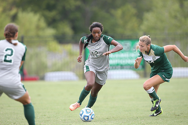 DENTON, TX -OCTOBER 13: Amber Haggerty #12 of the North Texas Mean Green - North Texas Mean Green Soccer vs Charlotte Forty NIners  at Mean Green Village Soccer Field in Denton on October 13, 2013 in Denton Texas. (Photo by Rick Yeatts)