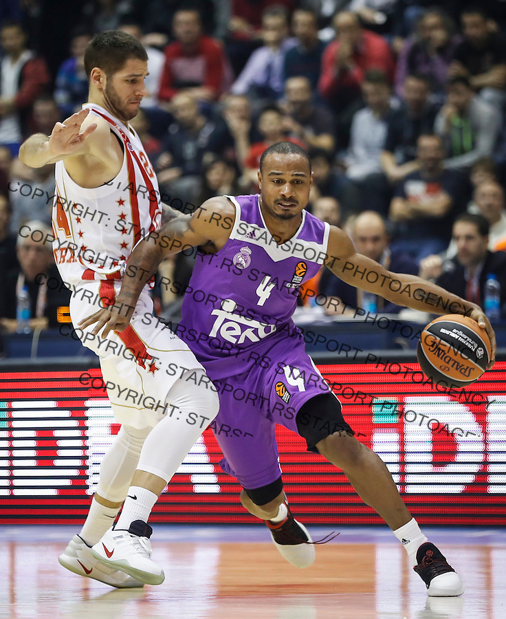 BELGRADE, SERBIA - DECEMBER 22: Dontaye Draper (R) of Real Madrid in action against Stefan Jovic (L) of Crvena Zvezda during the 2016/2017 Turkish Airlines EuroLeague Regular Season Round 14 game between Crvena Zvezda MTS Belgrade and Real Madrid at Aleksandar Nikolic Hall on December 22, 2016 in Belgrade, Serbia. (Photo by Srdjan Stevanovic/Getty Images)