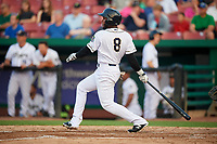 Kane County Cougars designated hitter Luis Lara (8) follows through on a swing during a game against the South Bend Cubs on July 23, 2018 at Northwestern Medicine Field in Geneva, Illinois.  Kane County defeated South Bend 8-5.  (Mike Janes/Four Seam Images)