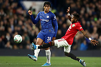 30th October 2019; Stamford Bridge, London, England; English Football League Cup, Carabao Cup, Chelsea Football Club versus Manchester United; Fred of Manchester Utd attempts to block Reece James of Chelsea pass - Strictly Editorial Use Only. No use with unauthorized audio, video, data, fixture lists, club/league logos or 'live' services. Online in-match use limited to 120 images, no video emulation. No use in betting, games or single club/league/player publications