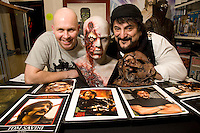 David Bidwell, owner of The Monster Store, on Derby Road, Nottingham with Hollywood horror legend Tom Savini (right) and the Bald Head Zombie from Dawn of the Dead