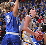 SIOUX FALLS, SD - MARCH 5:  Madison Guebert #11 of South Dakota State looks to shoot against defender Annabel Graettinger of Fort Wayne in the 2016 Summit League Tournament. (Photo by Dick Carlson/Inertia)