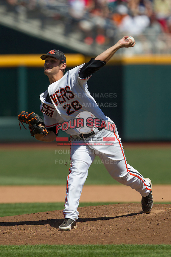 Oregon State pitcher Ben Wetzler (28) delivers a pitch to the plate against the Louisville Cardinals during Game 5 of the 2013 Men's College World Series on June 17, 2013 at TD Ameritrade Park in Omaha, Nebraska. The Beavers defeated Cardinals 11-4, eliminating Louisville from the tournament. (Andrew Woolley/Four Seam Images)