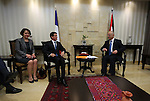 "Palestinian prime minister Rami Hamdallah meets with French Prime Minister Manuel Valls in the West Bank city of Ramallah, on May 24, 2016. Palestinian prime minister Rami Hamdallah dismissed an Israeli proposal for direct negotiations instead of a French multilateral peace initiative, calling it an attempt to ""buy time"". Photo by Shadi Hatem"