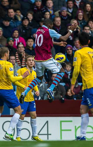 12.01.2013 Birmingham, England. Aston Villa's Christian Benteke in action during the Premier League game between Aston Villa and Southampton from Villa Park.