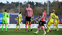 Lincoln City's Matt Rhead reacts after a chance fails to convert in the second half<br /> <br /> Photographer Chris Vaughan/CameraSport<br /> <br /> The EFL Sky Bet League Two - Lincoln City v Cheltenham Town - Saturday 13th April 2019 - Sincil Bank - Lincoln<br /> <br /> World Copyright &copy; 2019 CameraSport. All rights reserved. 43 Linden Ave. Countesthorpe. Leicester. England. LE8 5PG - Tel: +44 (0) 116 277 4147 - admin@camerasport.com - www.camerasport.com