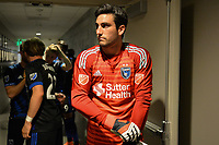 San Jose, CA - Saturday April 14, 2018: Andrew Tarbell prior to a Major League Soccer (MLS) match between the San Jose Earthquakes and the Houston Dynamo at Avaya Stadium.