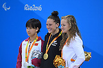 (L-R) Yi Chen (CHN), Sophie Pascoe (NZL), Oliwia Jablonska (POL), <br /> SEPTEMBER 12, 2016 - Swimming : <br /> Women's 100m Butterfly S10 Medal Ceremony <br /> at Olympic Aquatics Stadium<br /> during the Rio 2016 Paralympic Games in Rio de Janeiro, Brazil.<br /> (Photo by AFLO SPORT)