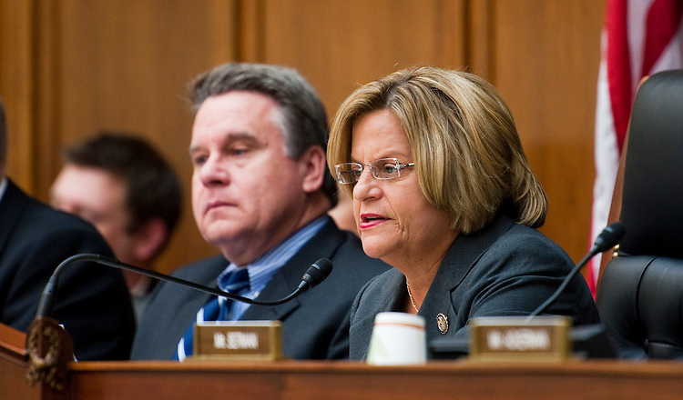 WASHINGTON, DC - May 25: Rep. Christopher H. Smith, R-N.J., and Chairwoman Ileana Ros-Lehtinen, R-Fla., during a House Foreign Affairs hearing for members of Congress who have introduced legislation relating to war powers and U.S. involvement in Libya to discuss their legislation before the committee. (Photo by Scott J. Ferrell/Congressional Quarterly)