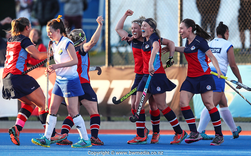 Tasman celebrate victory after winning the women's final of National Senior Hockey Tournament final between Tasman and Tauranga BOP at Blake Park in Tauranga, New Zealand on Saturday, 21 September 2019. Photo: Simon Watts / www.bwmedia.co.nz