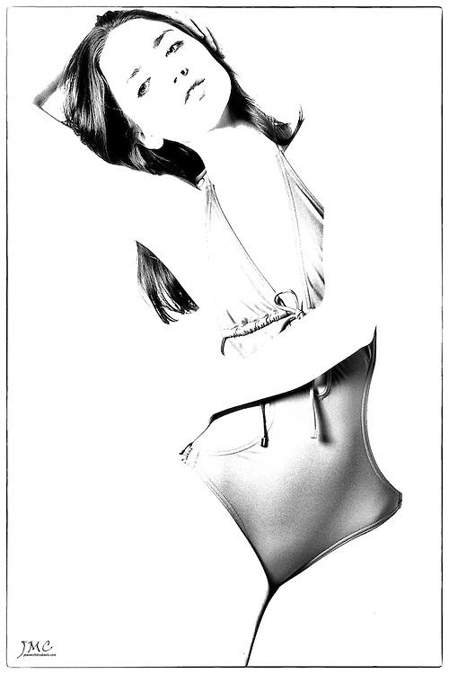 Beautiful brunette in swimsuit, abstract B&W