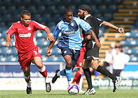 Gavin Grant of Wycombe Wanderers, former Gillingham and Millwall player, races upfield forcing match referee  Mr Jarnail Singh to take evasive action during Wycombe Wanderers vs Southend United, Friendly Match Football at Adams Park on 2nd August 2008