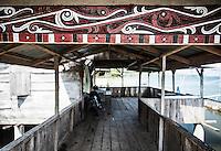 Traditional Batak style decoration on a house at Lake Toba (Danau Toba), North Sumatra, Indonesia