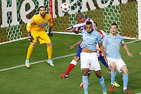 Atletico de Madrid´s Joao Miranda and Moya and Malmo´s Kiese Thelin during Champions League soccer match between Atletico de Madrid and Malmo at Vicente Calderon stadium in Madrid, Spain. October 22, 2014. (ALTERPHOTOS/Victor Blanco)