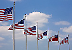 Washington, DC<br /> American flags surrounding the base of the Washington monument