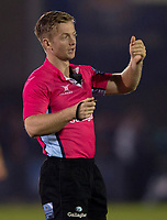 Referee Christophe Ridley<br /> <br /> Photographer Bob Bradford/CameraSport<br /> <br /> Gallagher Premiership - Bath Rugby v Exeter Chiefs - Friday 5th October 2018 - The Recreation Ground - Bath<br /> <br /> World Copyright &copy; 2018 CameraSport. All rights reserved. 43 Linden Ave. Countesthorpe. Leicester. England. LE8 5PG - Tel: +44 (0) 116 277 4147 - admin@camerasport.com - www.camerasport.com