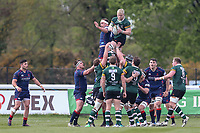 Nottingham Rugby win a line out during the Greene King IPA Championship match between London Scottish Football Club and Nottingham Rugby at Richmond Athletic Ground, Richmond, United Kingdom on 15 April 2017. Photo by David Horn.