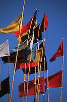 Europe/France/Pays de la Loire/85/Vendée/Ile de Noirmoutier: L'Herbaudière: Le port - Fanions de caseyeurs