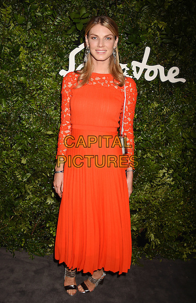 BEVERLY HILLS, CA - SEPTEMBER 09: Model Angela Lindvall arrives at the Salvatore Ferragamo 100 Years In Hollywood celebration at the newly unveiled Rodeo Drive flagship Salvatore Ferragamo boutique on September 9, 2015 in Beverly Hills, California.<br /> CAP/ROT/TM<br /> &copy;TM/ROT/Capital Pictures