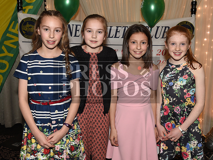 Allie Garcia, Ella McLoughlin, Isobella Garcia and Eimer Cooney at the Boyne AC awards night in the Westcourt Hotel. Photo:Colin Bell/pressphotos.ie