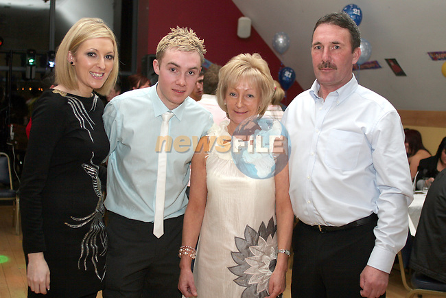Kevin Walsh with his family, Lynn, Margaret and Martin at his 21st in The Thatch...Photo NEWSFILE/Jenny Matthews.(Photo credit should read Jenny Matthews/NEWSFILE)....This Picture has been sent you under the condtions enclosed by:.Newsfile Ltd..The Studio,.Millmount Abbey,.Drogheda,.Co Meath..Ireland..Tel: +353(0)41-9871240.Fax: +353(0)41-9871260.GSM: +353(0)86-2500958.email: pictures@newsfile.ie.www.newsfile.ie.FTP: 193.120.102.198.
