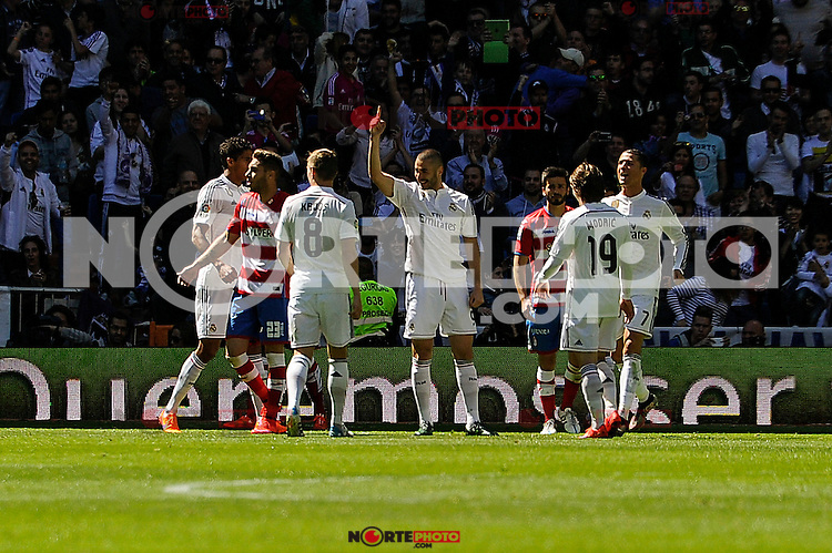 Real Madrid´s Karim Benzema during 2014-15 La Liga match between Real Madrid and Granada at Santiago Bernabeu stadium in Madrid, Spain. April 05, 2015. (ALTERPHOTOS/Luis Fernandez) /NORTEphoto.com