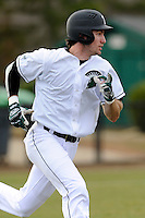 Center fielder James Fowlkes (15) of the University of South Carolina Upstate Spartans runs toward first in a game against the Winthrop University Eagles on Wednesday, March 4, 2015, at Cleveland S. Harley Park in Spartanburg, South Carolina. Upstate won, 12-3. (Tom Priddy/Four Seam Images)