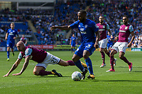 Junior Hoilett of Cardiff City is pressured by Alan Hutton of Aston Villa during the Sky Bet Championship match between Cardiff City and Aston Villa at the Cardiff City Stadium, Cardiff, Wales on 12 August 2017. Photo by Mark  Hawkins / PRiME Media Images.