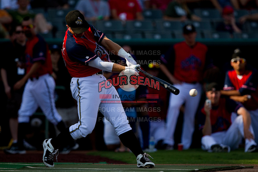 James Darnell (25) of the San Antonio Missions makes contact on a pitch during the 2011 Texas League All-Star Home Run Derby at Nelson Wolff Stadium on June 29, 2011 in San Antonio, Texas. (David Welker / Four Seam Images)..