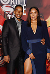 HOLLYWOOD, CA - NOVEMBER 13: Actor/rapper Chris 'Ludacris' Bridges (L) and wife Eudoxie Mbouguiengue arrive at the Premiere Of Warner Bros. Pictures' 'Justice League' at the Dolby Theatre on November 13, 2017 in Hollywood, California.