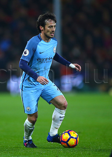 February 13th 2017, Vitality Stadium, Bournemouth, Dorset, England; EPL Premier league football, Bournemouth versus Manchester City; David Silva of Manchester City brings the ball forward