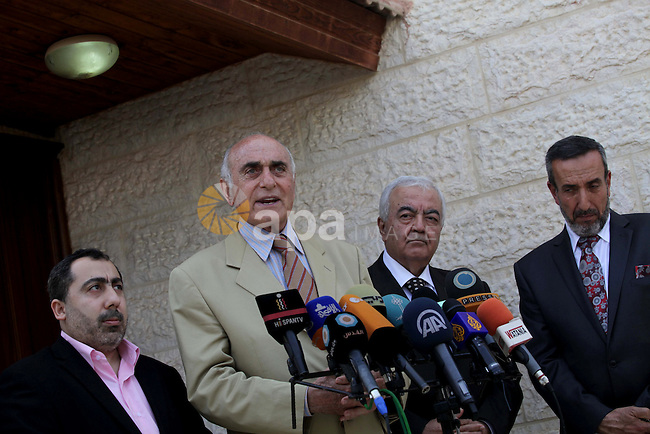 Palestinian businessman Munib al-Masri gives a press speech following his meeting with Palestinian Prime Minister in Gaza strip Ismail Haniyeh, in Gaza city on May 05, 2013. Haniyeh supports the process of completion of consensus government as soon as possible to end the Palestinian division, the head of the delegation of independent figures for Palestinian reconciliation, Munib al-Masri said. Photo by Ashraf Amra