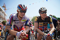 fellow countrymen Alexander Kristoff (NOR/Katusha) &amp; Edvald Boasson Hagen (Nor/MTN-Qhubeka) at the start<br /> <br /> stage 12: Lannemezan - Plateau de Beille (195km)<br /> 2015 Tour de France