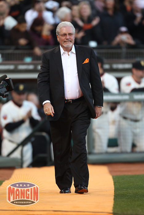 SAN FRANCISCO - APRIL 9:  General Manager Brian Sabean of the San Francisco Giants is honored on the field during a World Series ring ceremony before the game against the St. Louis Cardinals at AT&T Park on April 9, 2011 in San Francisco, California. (Photo by Brad Mangin)