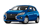 Stock pictures of low aggressive front three quarter view of 2020 Mitsubishi Space-Star IN 5 Door Hatchback Low Aggressive