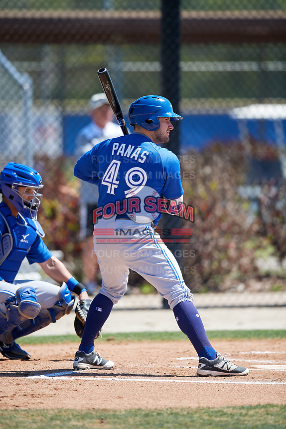 Toronto Blue Jays Connor Panas (49) during a Minor League Spring Training Intrasquad game on March 14, 2018 at Englebert Complex in Dunedin, Florida.  (Mike Janes/Four Seam Images)
