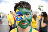 A young Brazil fan with face paint