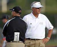 Florida International University Golden Panthers (0-5, 0-2) football versus Arkansas State University Indians (2-2, 1-0) at Miami, Florida on Saturday, September 30, 2006.  The Indians defeated the Golden Panthers 31-6...Coach Strock and an Arkansas State coach talk during pre-game warmups.