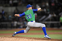 Pitcher Vance Tatum (33) of the Lexington Legends works in relief in a game against the Columbia Fireflies on Thursday, June 8, 2017, at Spirit Communications Park in Columbia, South Carolina. Columbia won, 8-0. (Tom Priddy/Four Seam Images)