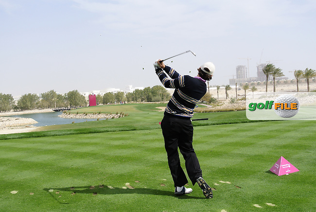 Thomas Aiken (RSA) tees off on the par3 8th tee during Saturday's Round 2 of the 2012 Commercialbank Qatar Masters presented by Dolphin Energy at Doha Golf Club, Qatar, 4th February 2012 (Photo Eoin Clarke/www.golffile.ie)