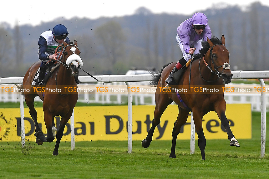Winner of The Dubai Duty Free Golf World Cup British EBF Conditions Stakes King Ottokar ridden by Ben Curtis and trained by Charle Fellowes  during Racing at Newbury Racecourse on 12th April 2019