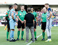 1st February 2020; HBF Park, Perth, Western Australia, Australia; A League Football, Perth Glory versus Melbourne Victory; Liam Reddy of Perth Glory and Ola Toivonen of Melbourne Victory watch the coin toss before the start of the match