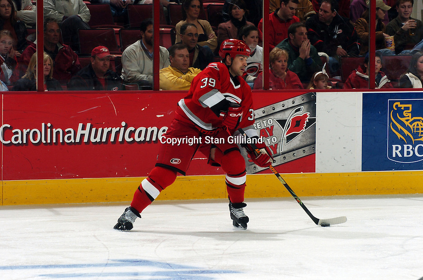 Carolina Hurricanes' Doug Weight prepares to pass during a game with the Florida Panthers Friday, March 3, 2006 at the RBC Center in Raleigh, NC. Carolina won 5-2.