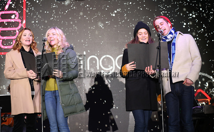 Jennifer Laura Thompson, Rachel Bay Jones, Laura Dreyfuss and Ben Platt from the new Broadway Musical 'Dear Evan Hansen' perform during the 2016 Bloomingdale's Holiday Concert at Beacon Court on November 21, 2016 in New York City.