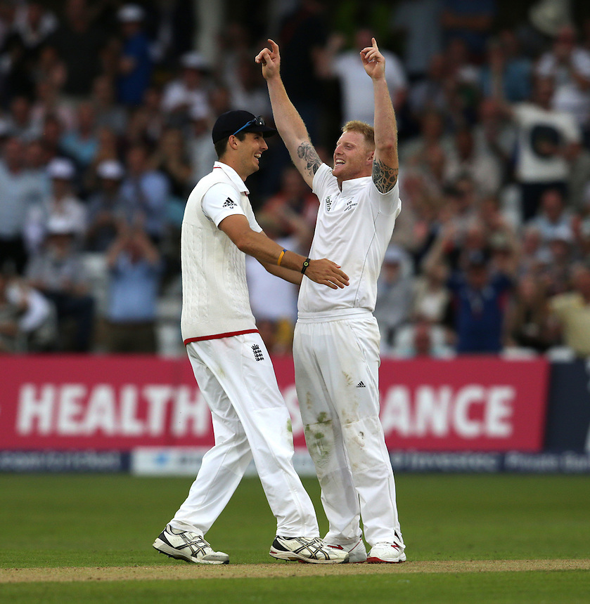 England's Ben Stokes celebrates taking the wicket of Australia's Mitchell Johnson with team-mate Alastair Cook - MG Johnson c Cook b Stokes 5<br /> <br /> Photographer Stephen White/CameraSport<br /> <br /> International Cricket - Investec Ashes Test Series 2015 - Fourth Test - England v Australia - Day 2 - Friday 7th August 2015 - Trent Bridge - Nottingham <br /> <br /> &copy; CameraSport - 43 Linden Ave. Countesthorpe. Leicester. England. LE8 5PG - Tel: +44 (0) 116 277 4147 - admin@camerasport.com - www.camerasport.com